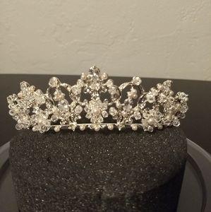 David's Bridal Pearl Sparkly Tiara Crown